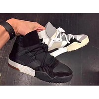New Designer Crossover Brand Leather Ankle Boots Flat Boost Mens Sneakers Womens Casual Shoes Fashion White / Black / Brown Leather