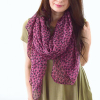 Cat + Polka Dot Printed Scarf, Summer Scarf, Fashion Scarf, Woman Scarf, Cat Scarf, Gift