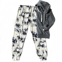 Ivory and Charcoal Tie Dye Lounge Pants