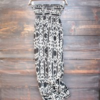 open ladder back tribal print maxi dress with front key hole