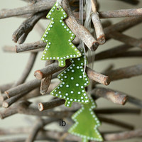 Christmas Tree Ornaments Green Ceramic Tree  White Dots  Winter Home Decoration Gift Set of 3