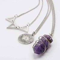 Triangle, Disc and Crystal Layering Pack Necklace in Silver - Urban Outfitters