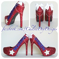 USMC Glitter High Heels, Marine Ball Red White Sparkly Pumps