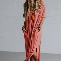 High Tides Side Slit Maxi Dress - Rose