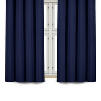Room Darkening Blackout Grommet Window Curtain Panels Drapes Set With Tie Backs