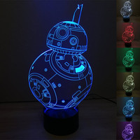 Star War Lamp - BB-8 - The Force Awakens - Color Changing - 7 Colors - LED