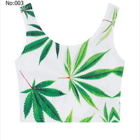 Sexy Short Girls Crop Top Weed Leaves Printed Casual Sports Jogging Women Bare Midriff Tank Top