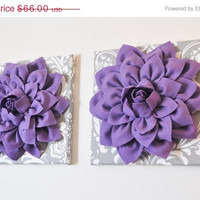 """MOTHERS DAY SALE Two Flower Wall Hangings -Lavender Purple Dahlias on Gray and White Damask 12 x12"""" Canvas Wall Art- Baby Nursery Wall Decor"""