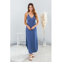 Get A Move On Striped Dress-Navy