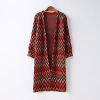 Zig-Zag Patterned Sleeve Knitted Long Coat