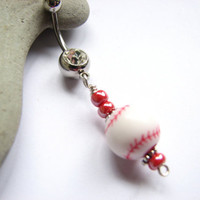 Baseball Belly Button Jewelry, Sports Belly Ring
