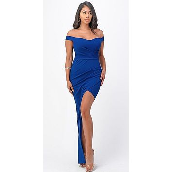 Long Fitted Royal Blue Party Dress Asymmetrical Open Side Off the Shoulder