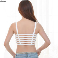 Fashion Women Summer Sexy Backless Cage Padded Bra Camis Halter Bustier Top Cropped Black White Crop Top camiseta feminina