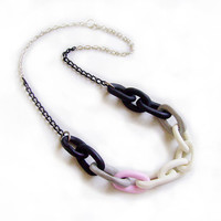 Polymer Clay Chain Necklace - Black, White, Pink - Handmade Oversized Chain Link Necklace