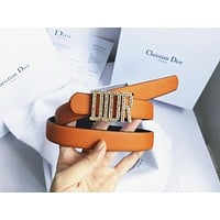 Dior Tide brand men's and women's diamond-studded smooth buckle belt Orange