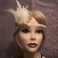 20's style flapper Leaf headband Gold Ivory Velvet Bead Sequin Slate Art Deco Great Gatsby Feather Head Piece 1920s headpiece (674)