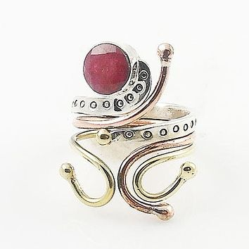 Ruby Three Tone Sterling Silver Adjustable Ring