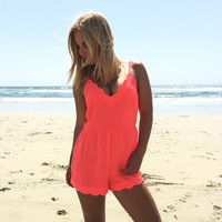Ellie Scallop Romper In Neon Coral