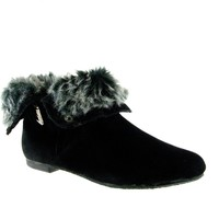 Women's Karyn's Fur Trimmed Cuffed Ankle High Boots Dusty-W-SU Black