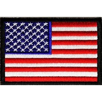 """Embroidered Iron On Patch - USA Patriotic American Flag Black Border 3"""" x 2"""" Patch"""