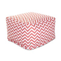 Large Printed Indoor Ottoman - Chevron - Coral