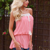 My Happy Place Strapless Top - Coral