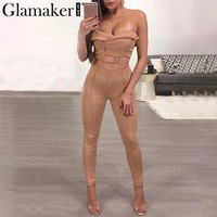 Glamaker Strapless leather suede women jumpsuit romper Sexy bare midriff bodycon jumpsuit Women two piece jumpsuit overalls 2018