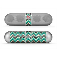 The Vintage Green & Tan Chevron Pattern V4 Skin for the Beats by Dre Pill Bluetooth Speaker