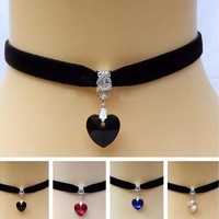 New 1x Gothic Velvet Heart Crystal Choker Handmade Necklace Pendant Retro 80 90s [8081685383]