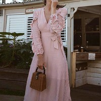 Vintage striped long women dress Casual ruffle sleeve maxi dreses Elegant high waist cotton dress female vestidos