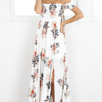 2017 NEW Boho style long dress women Off shoulder beach summer dresses Floral print white maxi dress vestidos de festa