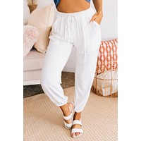 Where It Starts Linen Joggers (Off White)