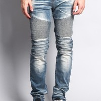 Men's Washed Biker Twill Denim Jeans
