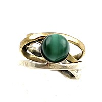 Malachite Sterling Silver Two Tone Ring