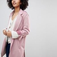 Bershka Suedette Soft Tailored Coat In Pink at asos.com