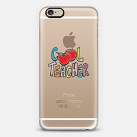COOL TEACHER 1 - Colorful Back to School Apples School Days Elementary High School Rainbow Whimsical Illustration Art Typography Quote Font Transparent iPhone 6 case by Ebi Emporium | Casetify