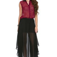 Foreign Exchange :: WOMEN :: TOPS :: SHIRTS & BLOUSES :: BURGUNDY CROSS TOP WITH LEATHERETTE COLLAR