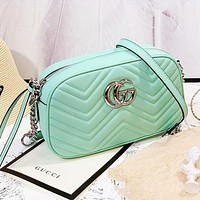GG marmont camera bag classic early spring bag macaron bag green