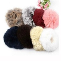 1x Fashion Soft Rabbit Fur Scrunchie Elastic Ponytail Hair Rope Tail Hair Holder