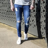 Brand Skinny Jeans Men Stretch Destroyed Ripped Biker Jeans Mens Slim Fit Casual Denim Trousers Hip Hop Streetwear Jean Homme