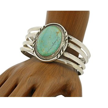 C. 1980's Navajo Morris Begay Oval Turquoise Hand Stamped .925 Silver Cuff