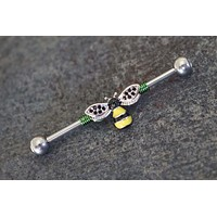 14g 16g Bee Crystal Industrial Barbell