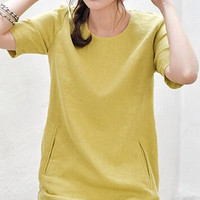 Yellow Short Sleeve Dress with Pockets