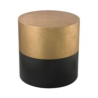 Draper Drum Table In Black And Gold Antique Gold,Black