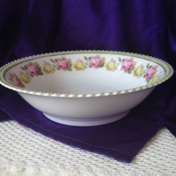 P K Silesia Serving Bowl, Pink and Yellow Roses, Sage Luster Border, 1920s Cottage Style German Porcelain Decor, Tent with Crown Backstamp