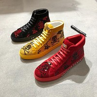 PHILIPP PLEIN Suede Hi-Top Black White Red Crystal Skull Sneakers
