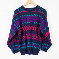 Vintage Colorful Tribal Aztec Print Sweater