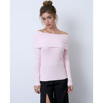 Regret Nothing Off-Shoulder Sweater Top - Pink