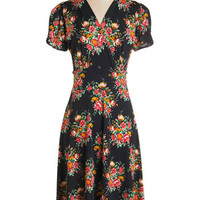 ModCloth Long Short Sleeves A-line One Floral, All For One Dress in Dusk