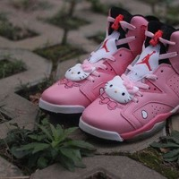PEAPON3A Womens Air Jordan 6 Retro High Hello Kitty Basketball Shoes Pink